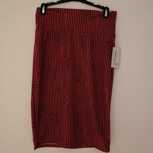 LuLaRoe   Red Orange Geometric Cassie Skirt   S